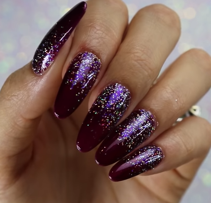 Purple Gel-Polish and Glitter Nails