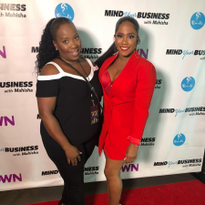 Footnanny founder Gloria L. Williams joins Mahisha Dellinger, founder of Curls, at the red...