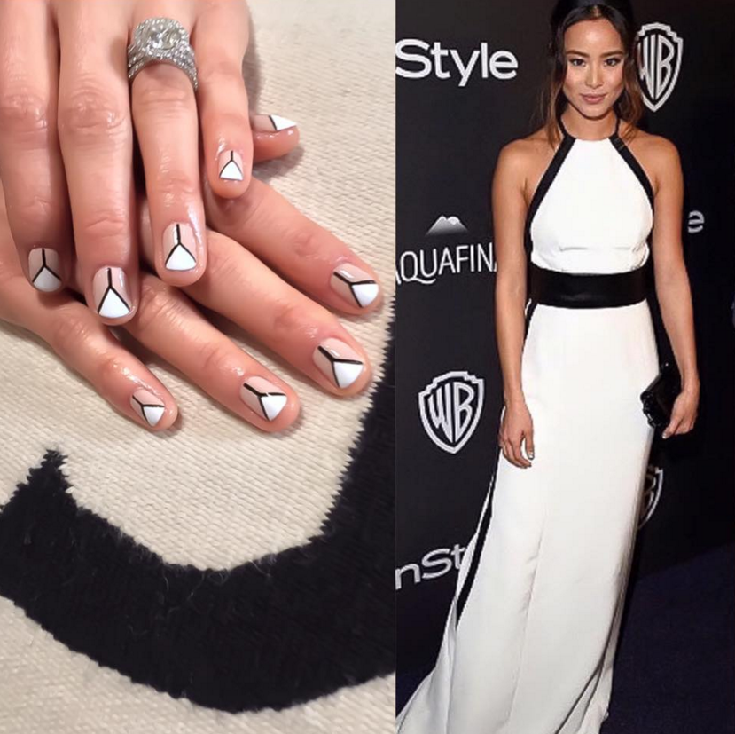 <p>Sabella Snyder polished nail art on actress Jamie Chung in Caption Polish Heaven Help Me and Look Don&rsquo;t Touch.</p>