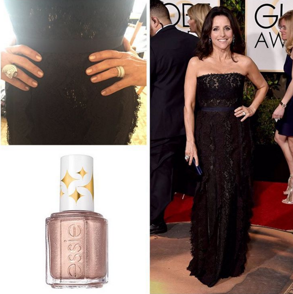<p>Julia Louis-Dreyfus wore Essie&rsquo;s Sequin Sash to the Golden Globes. Nails were done by Emi Kudo.</p>