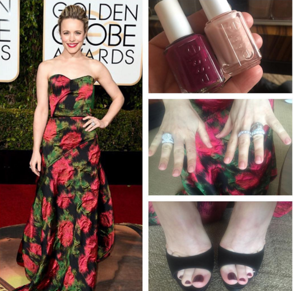 <p>Rachel McAdams choose a mauve and red mani/pedi combo in Essie Bahama Mama and Bbf Best Boyfriend for the Golden Globes. Nails by Jolene Brodeur.</p>