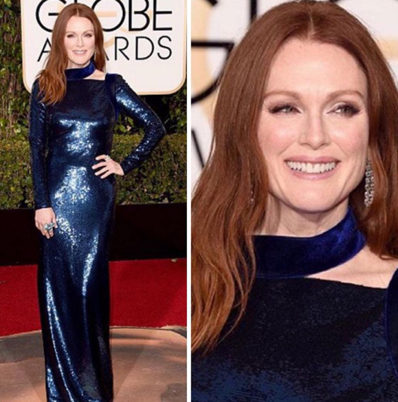<p>Julianne Moore sported a full nude manicure in L'Oreal Paris Boho Babe.</p>