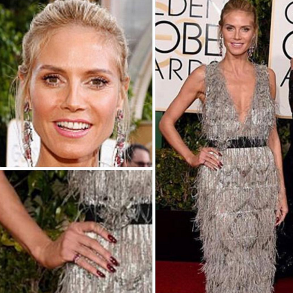 <p>Heidi Klum followed the red trend and wore a deep crimson color using L'Oreal Paris. Nails by Tom Bachik.</p>