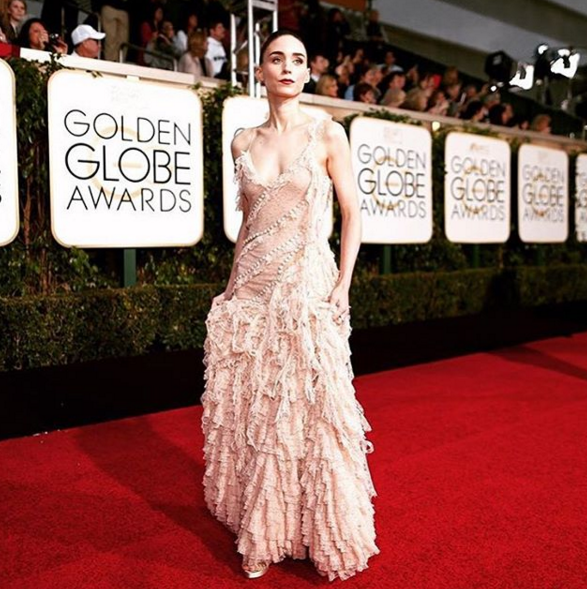 <p>Rooney Mara matched her nails to her nude McQueen gown, thanks to Steph Stone.</p>