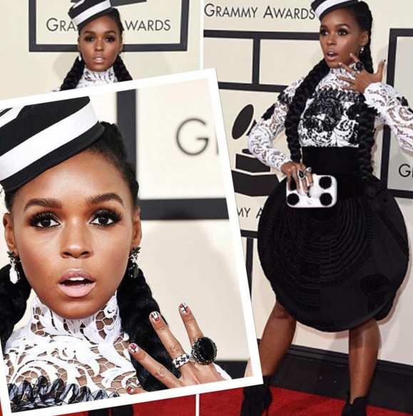 "<p>Janelle Monae for the Grammys with nail art by celeb manicurist Nettie Davis. Image via <a href=""https://www.instagram.com/nettiescrub/"" target=""_blank"">@nettiescrub</a></p>"