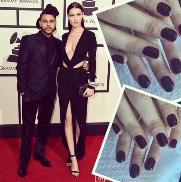 "<p>Bella Hadid accompanied The Weekend down the red carpet and matched her ensemble with Chanel nail lacquer in Mythique. Nails by Nettie Davis.Image via <a href=""https://www.instagram.com/nettiescrub/"" target=""_blank"">@nettiescrub</a></p>"