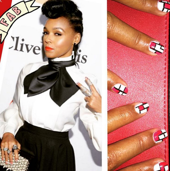 """<p>Janelle Monae complimented her black-and-white outfit with bold color block nail art with a pop of red. Nails by celeb manicurist Nettie Davis.&nbsp;</p> <p>Image via <a href=""""https://www.instagram.com/nettiescrub/"""" target=""""_blank"""">@nettiescrub</a></p>"""
