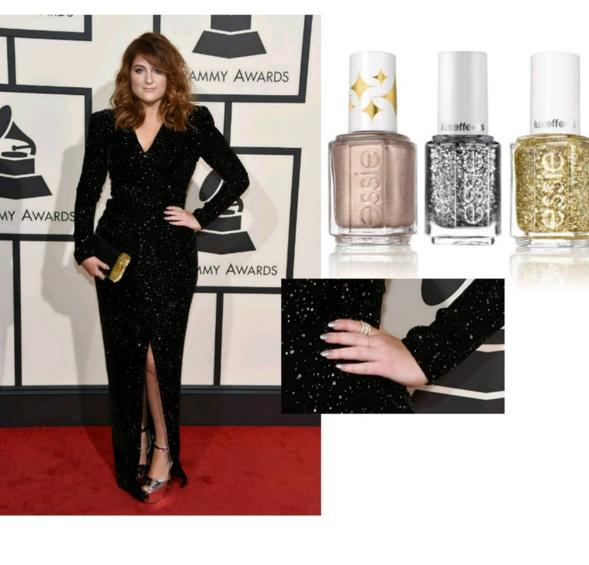 "<p>Grammy winner Meghan Trainor wore a custom glitter polish color by celeb nail tech Kimmie Kyees in Essie shades.&nbsp;Image via<a href=""https://www.instagram.com/p/BB67MmsrO-M/?taken-by=kimmiekyees"" target=""_blank""> @kimmiekyees</a></p>"