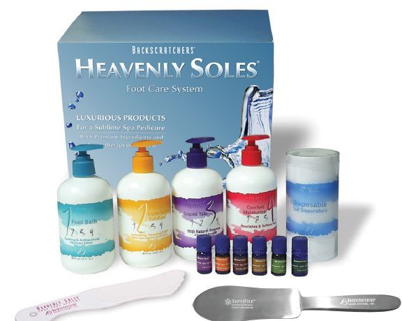 """<p>Give clients a &ldquo;heavenly&rdquo; pedicure experience in four simple steps with Backscratchers&rsquo; Heavenly Soles Complete Pedicure Kit. In it you&rsquo;ll find an aromatic footbath solution, an exfoliator, moisturizer, and an elixir of rich enzymes that protect freshly pampered feet. The kit now comes with Aromatic Spa Drops in six different scents for treatment customization, toe separators, and a foot file.</p> <p><a href=""""http://www.backscratchers.com/"""">www.backscratchers.com/</a></p>"""