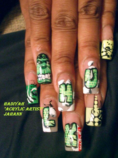 "<p>Hulk Smash! Nails by <a href=""http://nailartgallery.nailsmag.com/hjahann"">Hadiyah ""Acrylic Artist"" Jahann</a></p>"