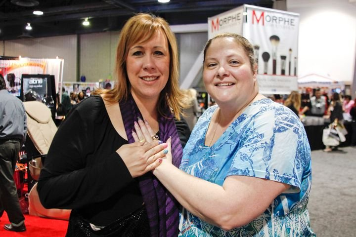 <p>Lynn Weber and G Elizondo had on complementing nail art using free-standing glitter from Elizondo&rsquo;s new OMG glitter line.</p>