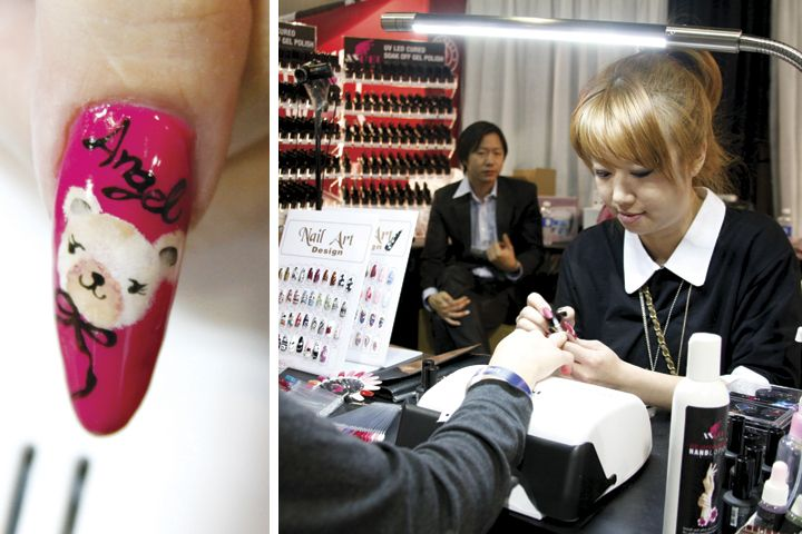 <p>Albee Chen, shown here at the Angel UV/LED Cured Soak-Off Gel-Polish booth, won first place in the 3-D Fantasy Nail Art Competition held at the show. She created this cute teddy bear nail using Angel gel-polish.</p>