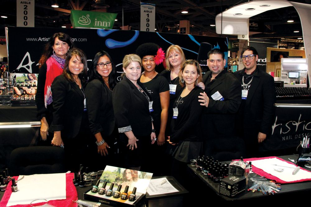<p>The Artistic Nail Design team of Lisa Boone, Alicia Botero, Christina Gonzales, Melissa Peters, Aletter Robinson, Sheryl McCullough, Gisela Gonzalez, Jorge Ruvalcaba, and Ruben Eduard asked attendees, &ldquo;What Kind of Girl Are You?&rdquo;, referring to the company&rsquo;s ad campaign for its spring gel-polish.</p>
