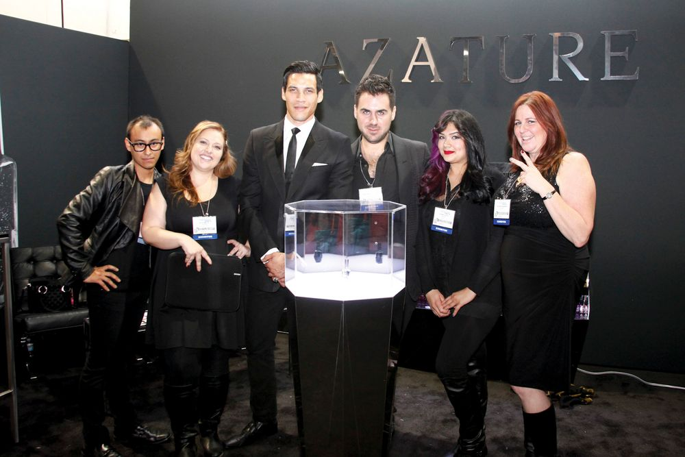<p>Brian Garces, Alee Mills, Stephen Michael Nelson, founder and jewelry designer Azature Pogosian, Vivian Lopez, and Barbara Warner posed with the Azature $250,000 black diamond polish.</p>