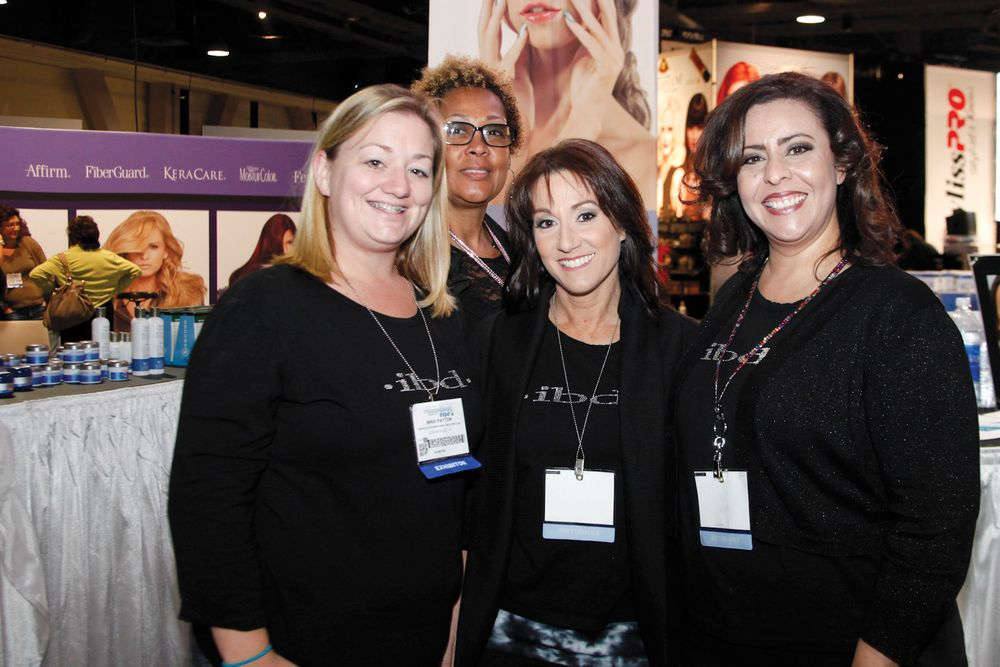 <p>Nikki Payton, Lynn Long, Wende Thummel, and Terry Burciaga were familiar faces helping show-goers at the ibd booth.</p>