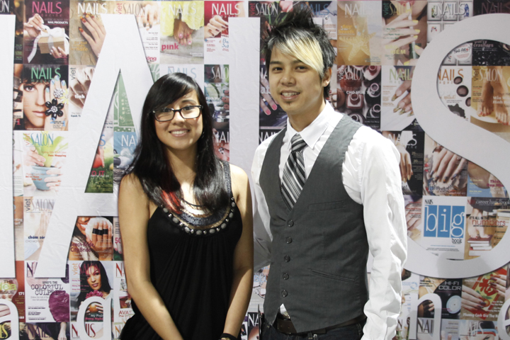 <p>Olivia Casares and Robert Nguyen stopped by the NAILS booth.</p>