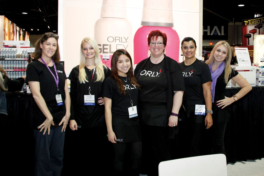 <p>Orly educators Brenda Shea, Katie Shaw, Yvonne Wu, Sam Biddle, Juana Barron, and Nicole Cebulak kept up the energy at the Orly booth.<br /><br /></p>