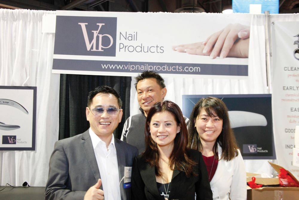 <p>VIP Nail Products&rsquo; John Trinh, Hung Nguyen, Cindy Trinh, and Chi Nguyen showed off their Aiko line of designer nail art tips.</p>