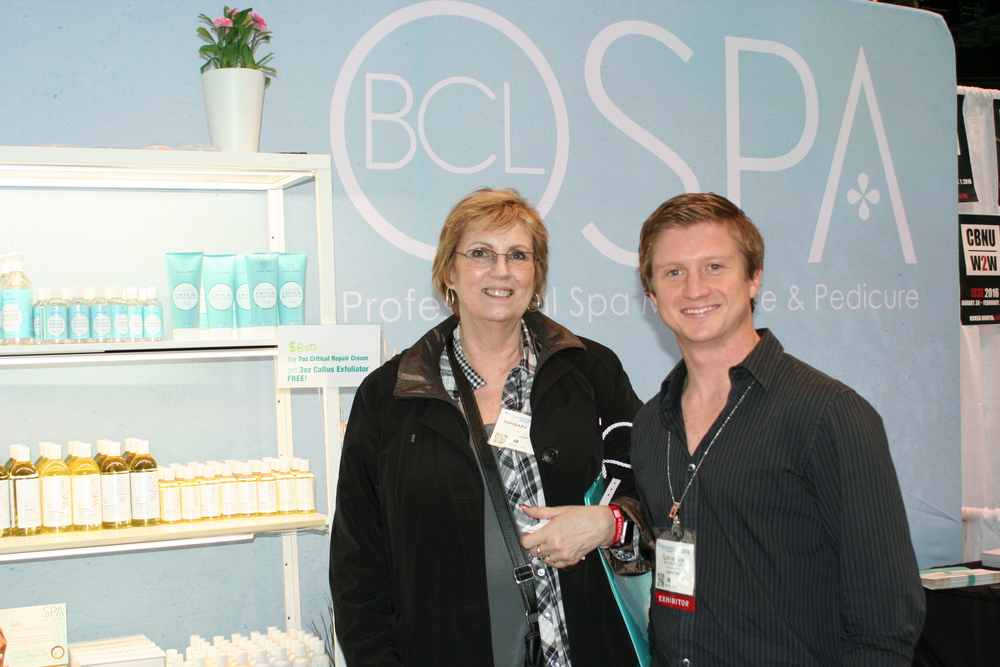 <p>Bio Creative Labs' Cliff Heiser (right) with one of BCL's happy clients, Barbara Phares from Genisis Hair Design in Filmore, Calif.</p>
