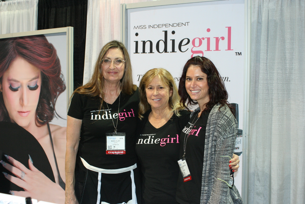 <p>IndieGirl's Mary Flint, Rhonda Tooker, and Natalie de Witte promoted the company's expanding line of products.</p>
