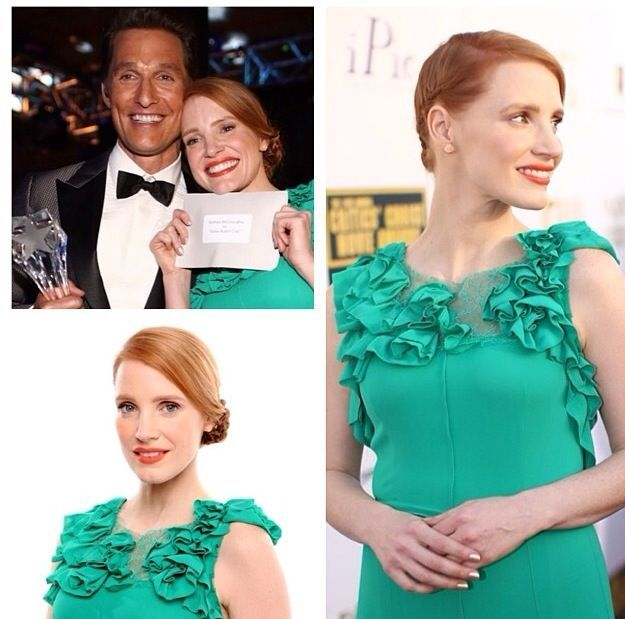 <p>Christina Aviles used Azature Bronze Diamond to add some bling to Jessica Chastain's nails for the Critic's Choice Awards.</p>