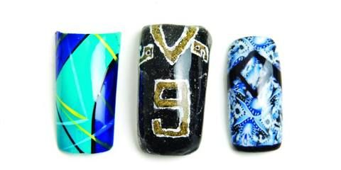 <p>Sportswear nail art from left to right:&nbsp;Stephanie Saddler, Butta Fingers Nail Studio, Cleveland; Brittney Taxara, Get Nailed, Redding, Calif.; Teresa Brinkman, Get Nailz Salon, Princeton, Wis.</p>