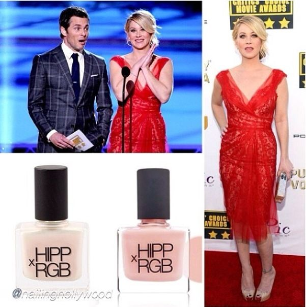 <p>Christina Applegate's Critics Choice nails were done in Nail Sheer + Highlight by Jenna Hipp. Image via @jennahipp.</p>