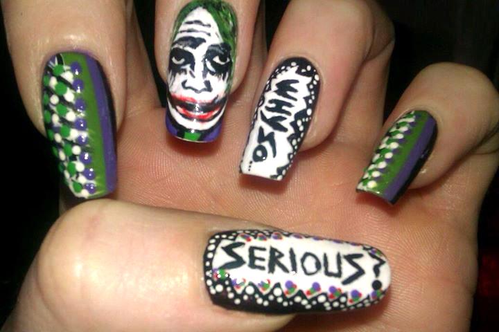 "<p>Heath Ledger as the Joker nails by <a href=""http://nailartgallery.nailsmag.com/katienailart"">Katie Cardwell</a>, Ireland</p>"