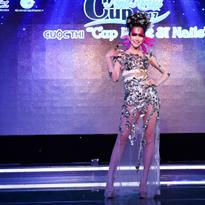 Diễn viên người mẫu Đinh Ngọc Diệp trong bài biểu diễn tại lễ ra giới thiệu cuộc thi.