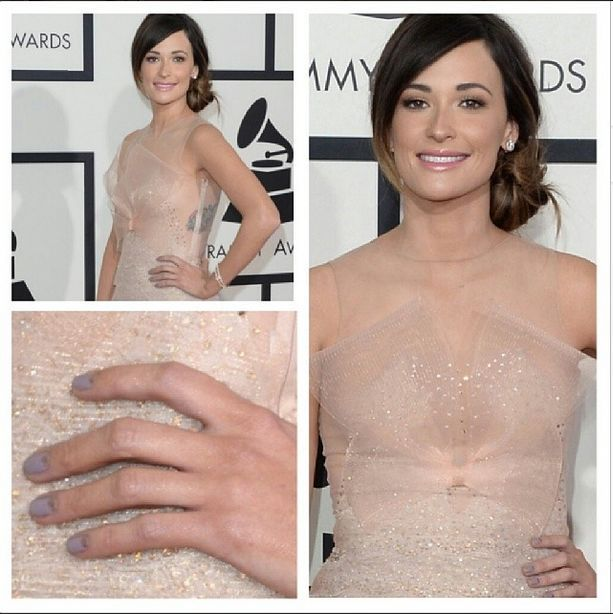 <p>Grammy winner Kacey Musgraves wore Essie Warm &amp; Toasty with Penny Talk moons. Image via @kimmiekyees.</p>