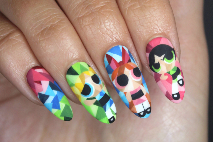 """<p>Powerpuff Girls in the style of Eric Dufresne, by Lexi Martone &mdash; <a href=""""http://nailartgallery.nailsmag.com/leximartone/photo/364942/ntna-pre-challenge-2/user"""">Click here for a step-by-step tutorial.</a></p>"""
