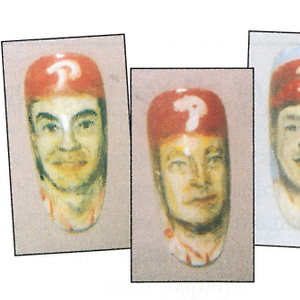 Nail transfers of Phillies players (from left) Terry Mulholland, Curt Schilling, and Lenny...