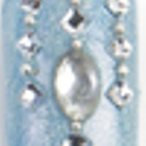 Adhere large and small rhinestones, as shown, to the tip. Apply top coat.