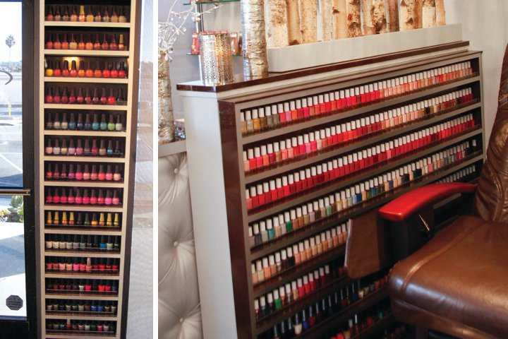 <p><strong>Camtu&rsquo;s Storage Solutions:&nbsp;</strong>All of the polishes at Blossom are displayed in wall frames that were built to save space and look beautiful.</p>