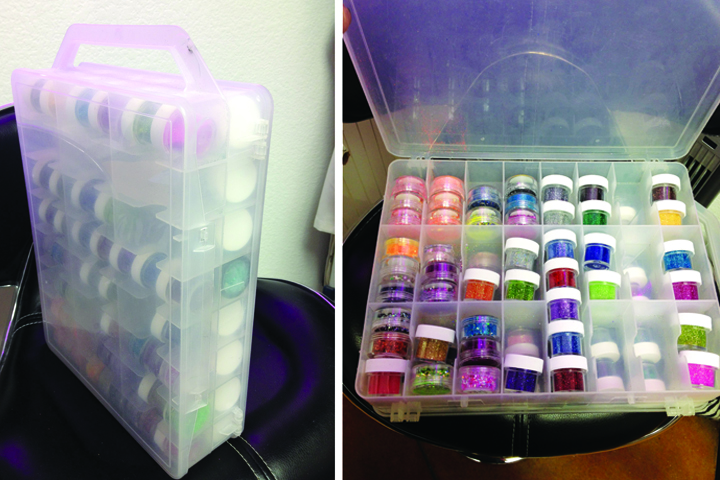 <p><strong>G&rsquo;s Storage Solutions:</strong> &ldquo;These toy car containers work well to display my glitter, and they&rsquo;re great for travel,&rdquo; says Elizondo. &ldquo;Just snap them together and you&rsquo;re ready to go.&rdquo; She found these at Walmart.</p>