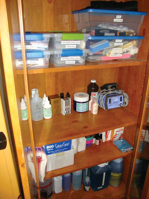 <p><strong>Annette&rsquo;s Storage Solutions:&nbsp;</strong>Other supplies, such as files, buffers, and art goodies, are stored in covered plastic containers, which are labeled for easy identification, and also stored in the closed cabinet.</p>