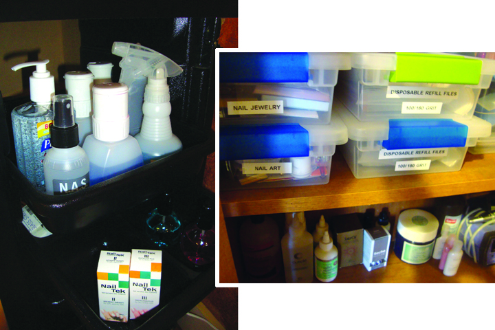 <p><strong>Annette&rsquo;s Storage Solutions:&nbsp;</strong>Calvillo keeps back-bar supplies in a closed storage cabinet and dispenses product into small, labeled bottles. She keeps the smaller bottles organized in the easily accessible drawers of this storage caddy. She has a duplicate setup at the pedicure station.</p>