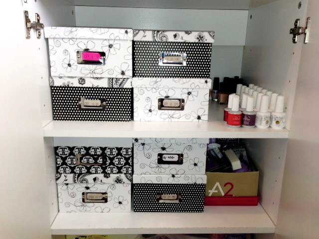 <p><strong>Colleen&rsquo;s Storage Solutions:&nbsp;</strong>&ldquo;I used to display polish on nail polish racks in the salon,&rdquo; says VanDurme, &ldquo;but the polishes&nbsp;started disappearing.&rdquo; Her solution? Paint all the colors on polish display boards for customers to view. VanDurme numbers each color, then labels each bottle. Finally, she puts them in numerical order in storage boxes. The label on the outside of the box tells her which numbers are in the box. The storage cabinet was purchased from Lowe&rsquo;s and boxes from Amazon, though Michaels craft store also sells them, and often on sale.</p>