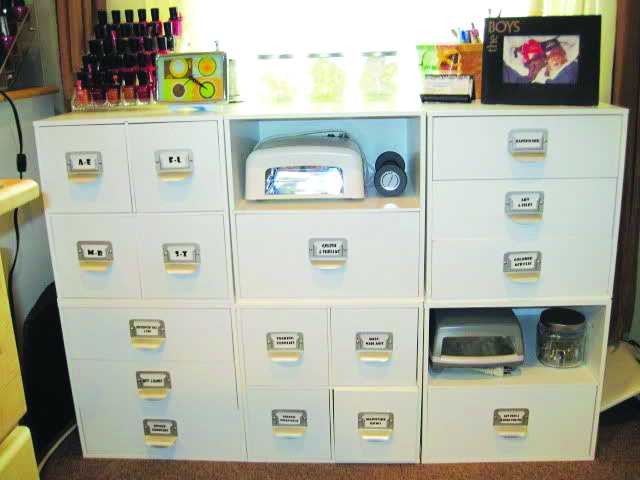 <p><strong>Colleen&rsquo;s Storage Solutions:&nbsp;</strong>This unit is six individual square cubes, which VanDurme found in the scrapbooking section at Michaels craft store. They are stacked three on three.</p>