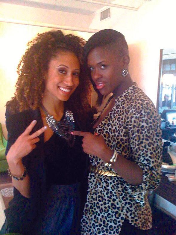 <p>Celebrity manicurist Dawn Sterling (right) poses with an Ebony Magazine reporter who sports <strong>Ginger + Liz</strong> polish in Not On The First Date during the Fashion Week Retreat at Robert Verdi&rsquo;s Luxe Laboratory.</p>
