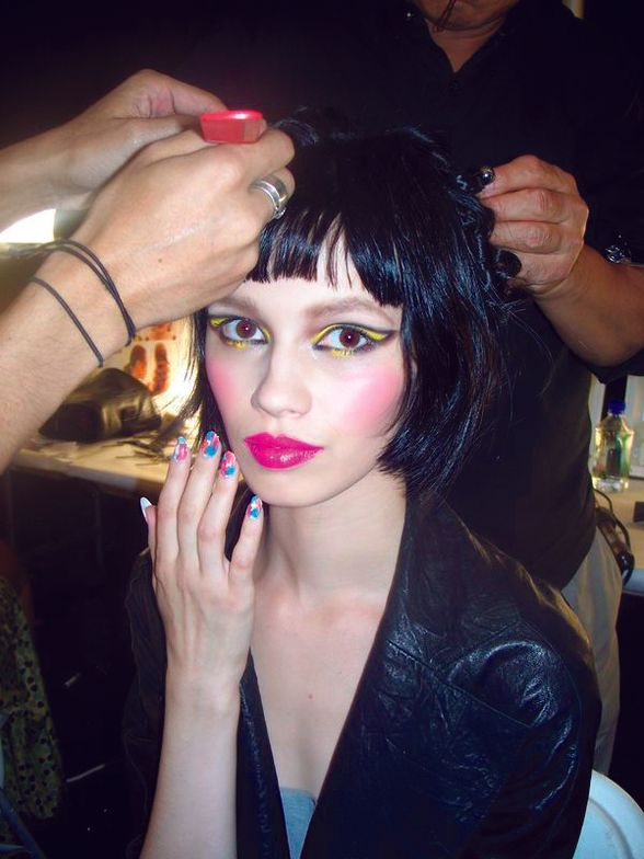 <p>A combination of <strong>OPI</strong> Alpine Snow, Chop-sticking to my Story, No Room for the Blues and That&rsquo;s Hot! Pink made for unique square-patterned tips at Z Spoke by Zac Posen.</p>