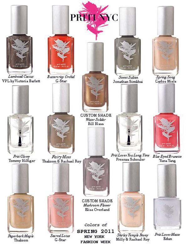 <p><strong>Priti NYC</strong> frequently custom makes shades for designers at Fashion Week, like the polish colors shown here.</p>