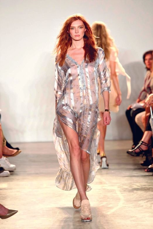 <p>A model at Thakoon wears <strong>Priti NYC</strong> polish in Paperback Maple.</p>
