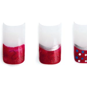 3. Add blue and white polka dots on top of the red. Apply top coat.