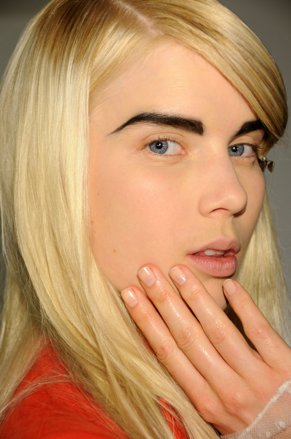 <p>At the Altuzarra show, nail tech Candice Manacchio and the <strong>CND</strong> team used Putty topped with Super Matte Top Coat to juxtapose dramatic, black eyebrows and stick-straight hair.</p> <p><em>Photo courtesy of Creative Nail Design (CND)</em></p>