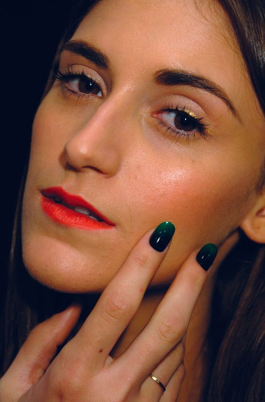 <p>At the Jen Kao show, Wanda Ruiz used <strong>CND</strong> Midnight Sapphire, Anchor Blue, Rouge Red, and Green Scene, each combined with Inkwell and slicked with Air Dry Top Coat for a poisonously bright, ombr&eacute; finish.</p> <p><em>Photo courtesy of Creative Nail Design (CND)</em></p>