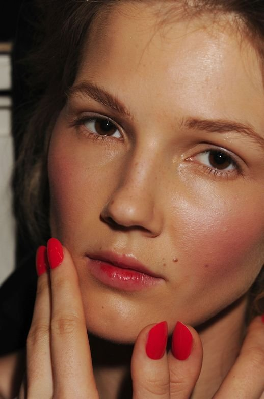 <p>At the Wes Gordon show, Kristina Estabrooks used <strong>CND</strong> Poppyfield to complement wispy ponytails and fresh faces. Toes were clean and neutral with Desert Suede. <em>Photo courtesy of Creative Nail Design (CND)</em></p>