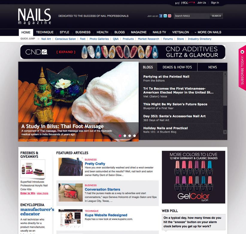 <p><strong>2012</strong>: The NAILS website surpasses four million monthly pageviews.</p>