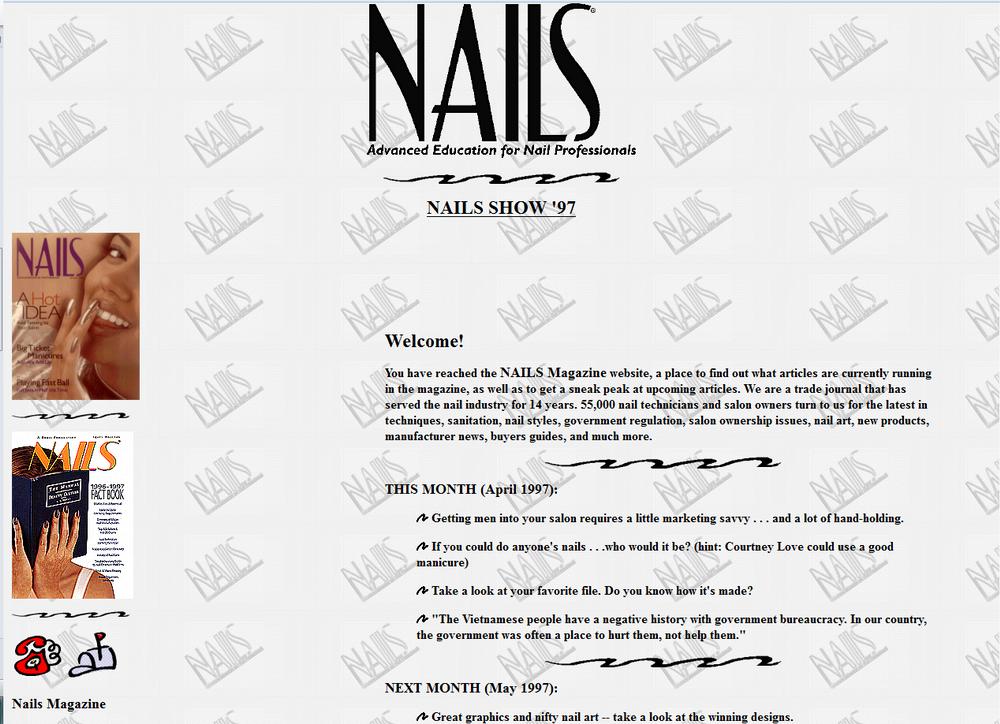 <p><strong>1997</strong>: NailsMag.com debuts.</p>