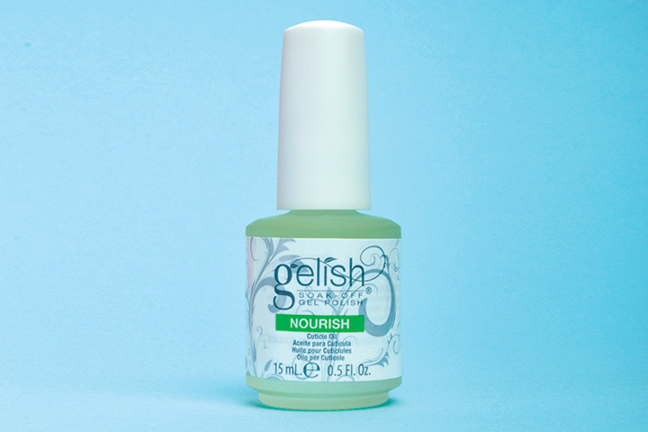"""<p>Gelish Nourish cuticle oil rehydrates and restores essential oils in cuticles and skin surrounding the nail with a unique blend of grapeseed oil, kukui nut oil, sesame, and Vitamin E.</p> <p><a href=""""http://www.gelish.com"""">www.gelish.com</a></p>"""